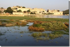 Udaipur, view of the city palace over the lake