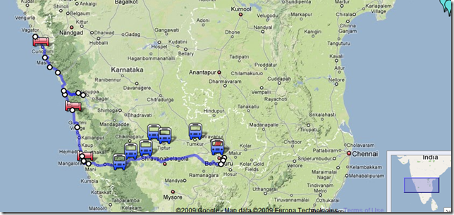 map bangalore mangalore goa