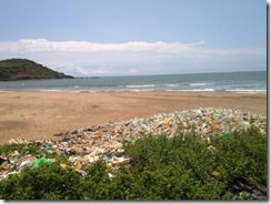 Gokarna beach, plastic bottles